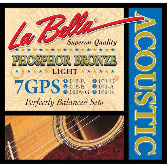 LaBella 7GPS Phosphor Bronze Acoustic Guitar Strings - Light - Jakes Main Street Music