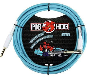 Pig Hog PCH10 Woven 10' Cable Daphne Blue w/ right angle connector - Jakes Main Street Music