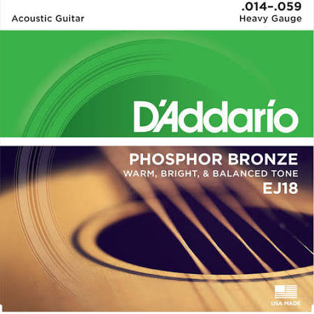 D'Addario EJ18 Phos. Bronze Acoustic Guitar Strings - Heavy - Jakes Main Street Music