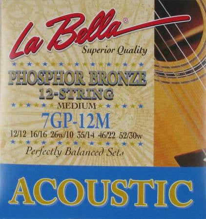 LaBella 7GP12M Phos. Bronze Acoustic Guitar 12-String - Medium - Jakes Main Street Music