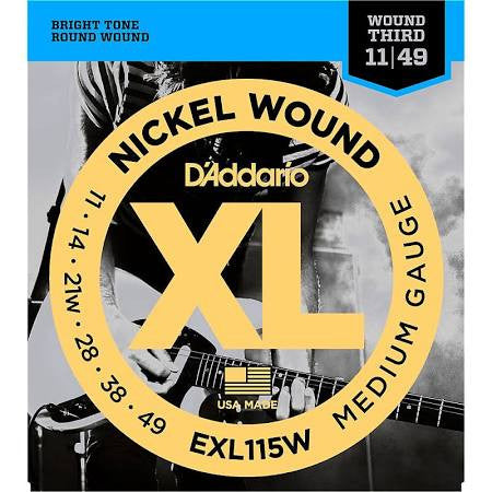 D'addario EXL115W Nickel Blues/Jazz Wound 3rd Electric Guitar Strings - Jakes Main Street Music