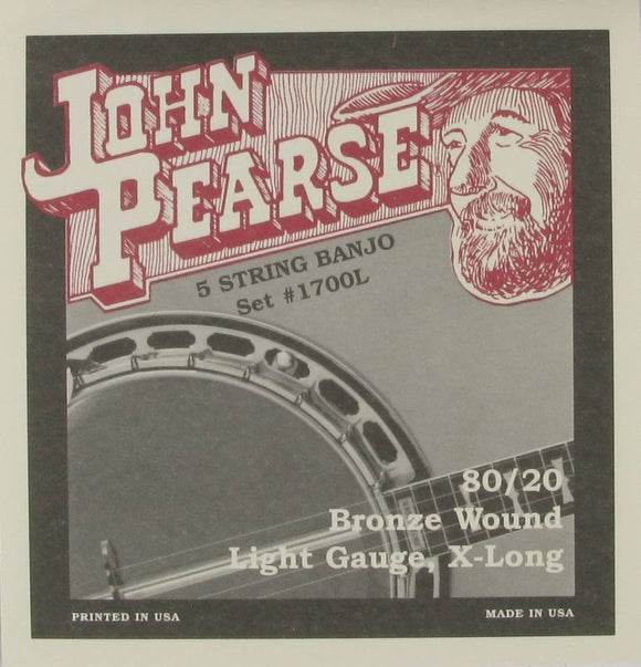John Pearse 1700L 80/20 Bronze 5-String Long Neck Banjo - Light - Jakes Main Street Music