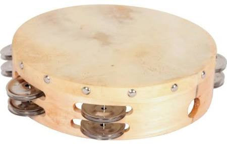 "8"" Round Double-Course Tamborine with Skin Head T8HD"
