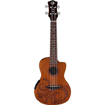 Luna Tattoo Concert Ukulele With Pickup UKETECMAH - Jakes Main Street Music
