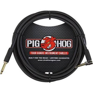 "Pig Hog PCH10BKR 10"" Woven Right Angle Instrument Cable ""Back in Black"""