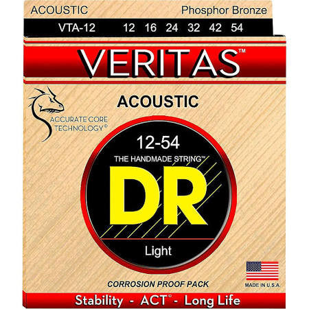 DR Strings VTA-12 12-54 Veritas Phosphor Bronze Hex-Core Light - Jakes Main Street Music
