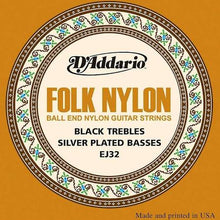 Load image into Gallery viewer, D'Addario EJ32 Folk Nylon Ball-end Guitar Strings  .28 to .45 Black Trebles