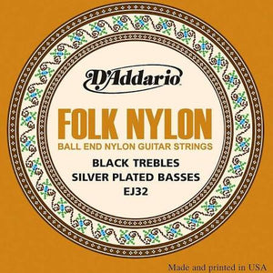 D'Addario EJ32 Folk Nylon Ball-end Guitar Strings  .28 to .45 Black Trebles