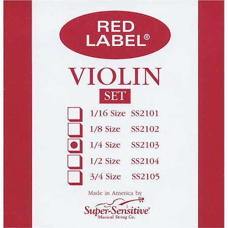 Super Sensitive Red Label 2103 Violin Strings - 1/4 - Jakes Main Street Music