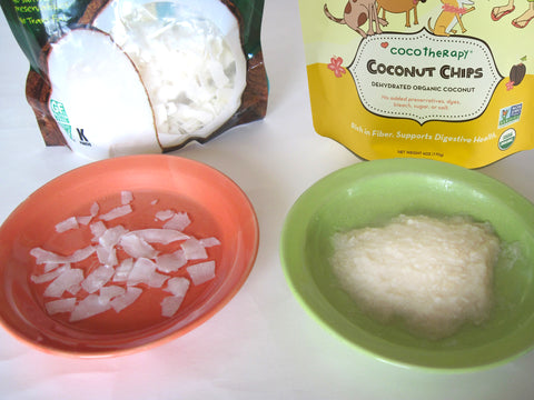 dehydrated organic coconut chips (left) and CocoTherapy Coconut Chips (right)