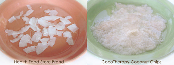 CocoTherapy Coconut Chips (right) have broken down