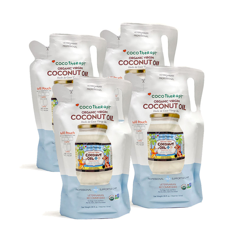 Organic Virgin Coconut Oil Refill Pouch (24 oz) - USDA Certified Organic Coconut Oil for dogs, cats, & birds