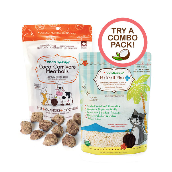 Organic Hairball Plus + Coco-Carnivore Beef Meatballs - Cat Combo