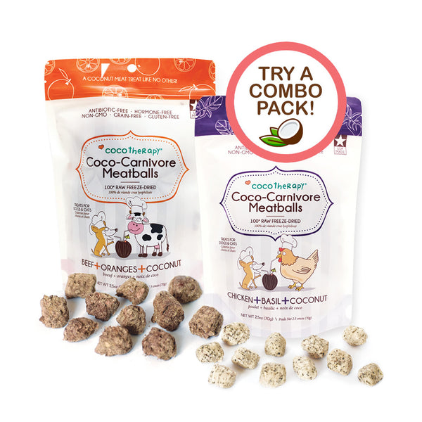 Coco-Carnivore Meatballs Beef + Chicken Duo - Raw Meat Treat for dogs and cats