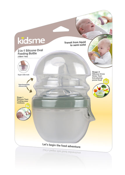 Kidsme - 2-in-1 Silicone Oval Feeding System  Green