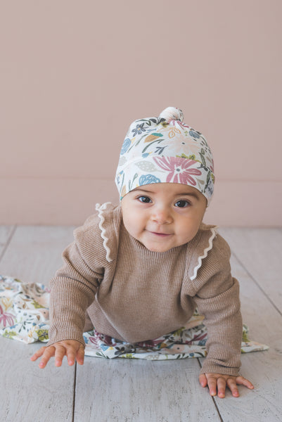 Copper Pearl - Olive Baby Top Knot Hat - 5-18 Months