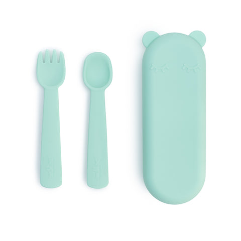 We Might Be Tiny - Feedie Fork and Spoon Set - Mint - Prepack of 4 - $13.00