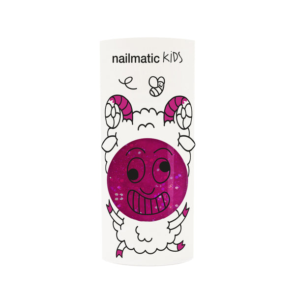 Nailmatic- Water-based nail polish for kids- Sheepy - Clear Raspberry Glitter