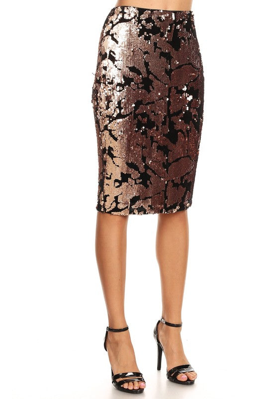 Sequined & Velvet Skirt