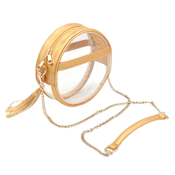 Policy Handbags - Clear Bare Roundie Bag- Gleaming Gold