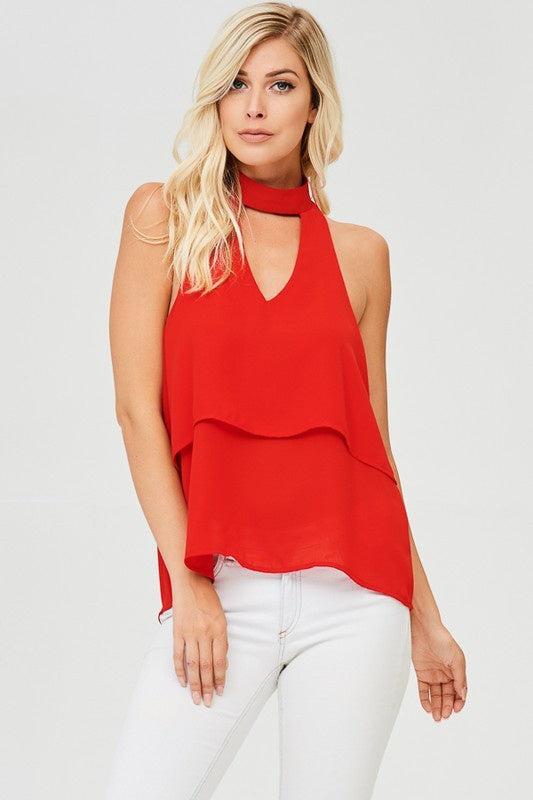 Red Layered Blouse