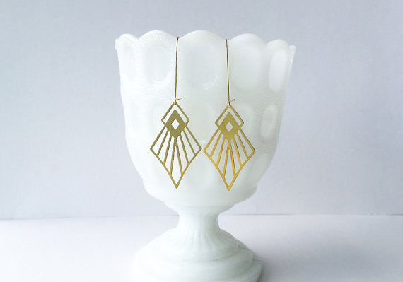 A Tea Leaf jewelry - Art Deco Diamond Earrings | Gold Plated