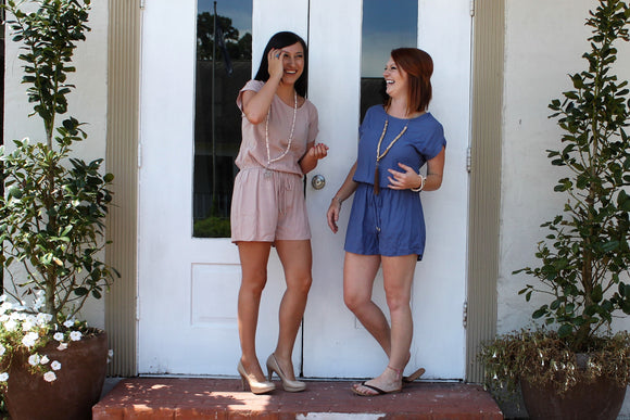 Loose Romper in Denim or Dusty Rose