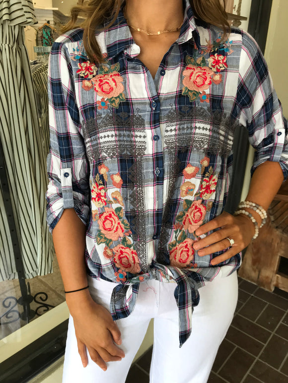 Embroidered Plaid Blouse