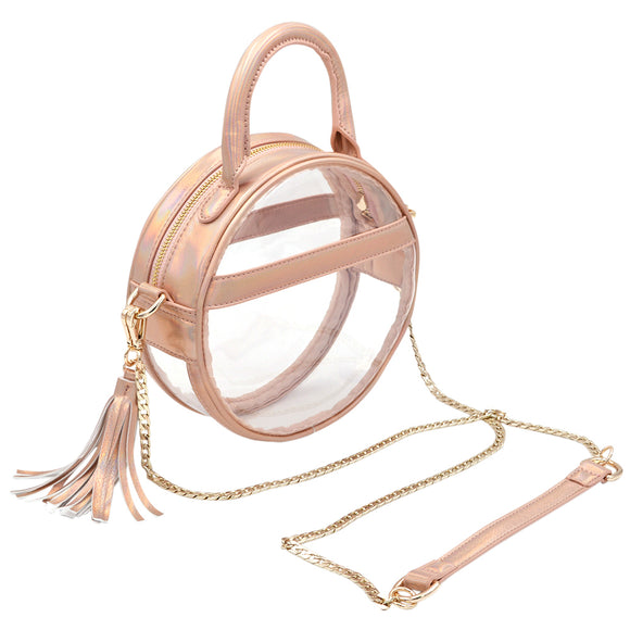 Policy Handbags - Clear Roundie Halo Bag -Dreamsicle