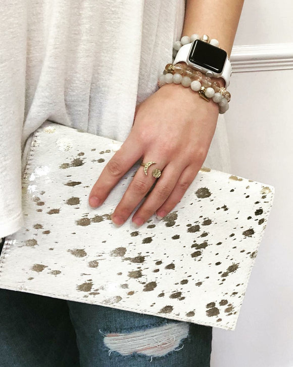 Luxe Cow Hair Foldover Clutch