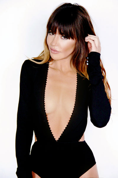 Black Ponte Deep V Bodysuit