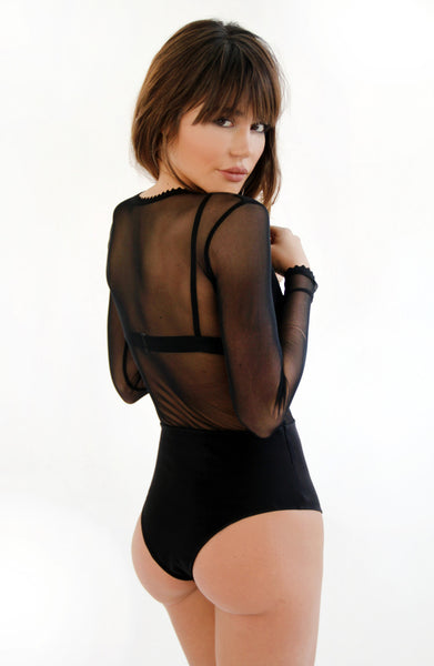 Black Mesh Reversible Bodysuit