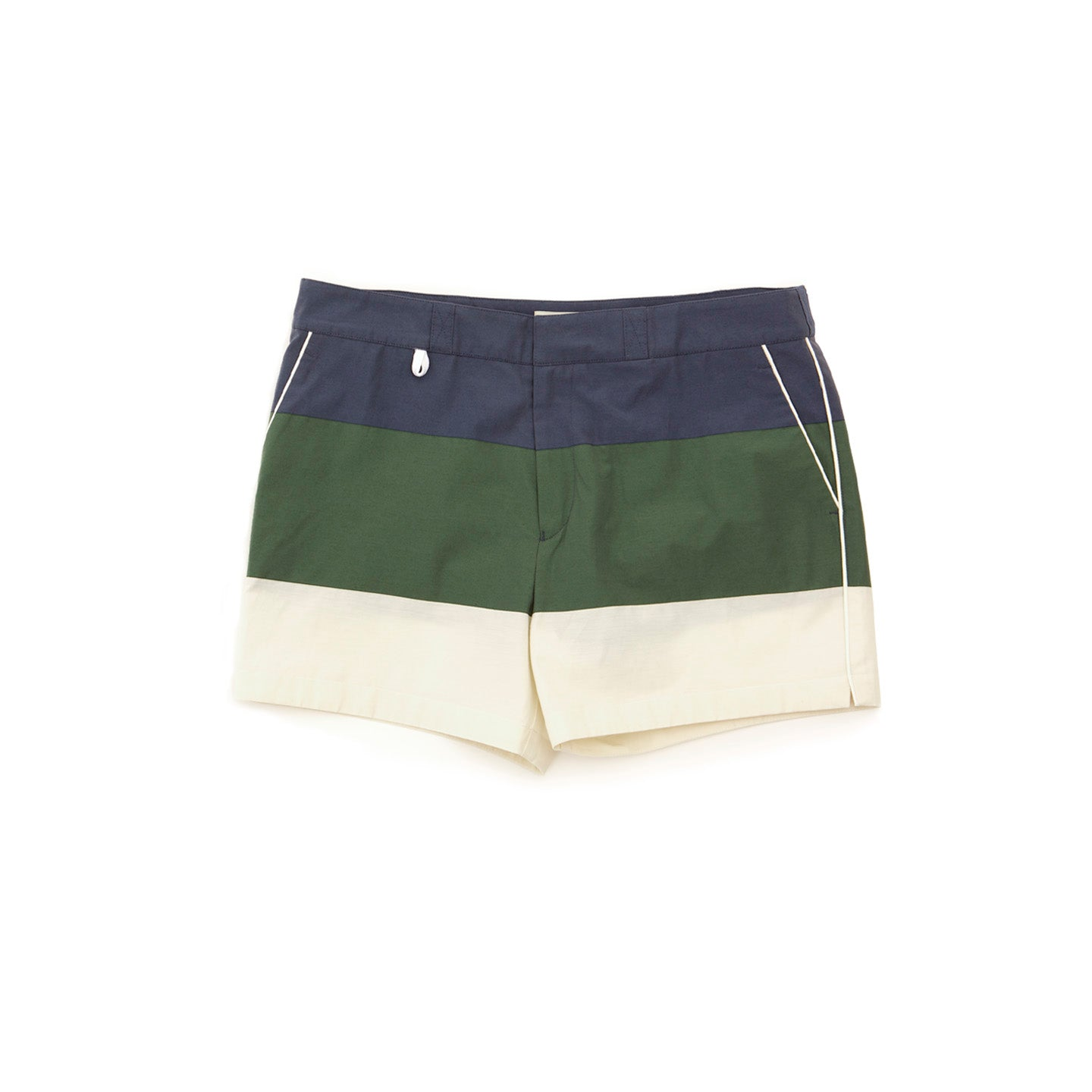 Blue, green, and white bathing trunks