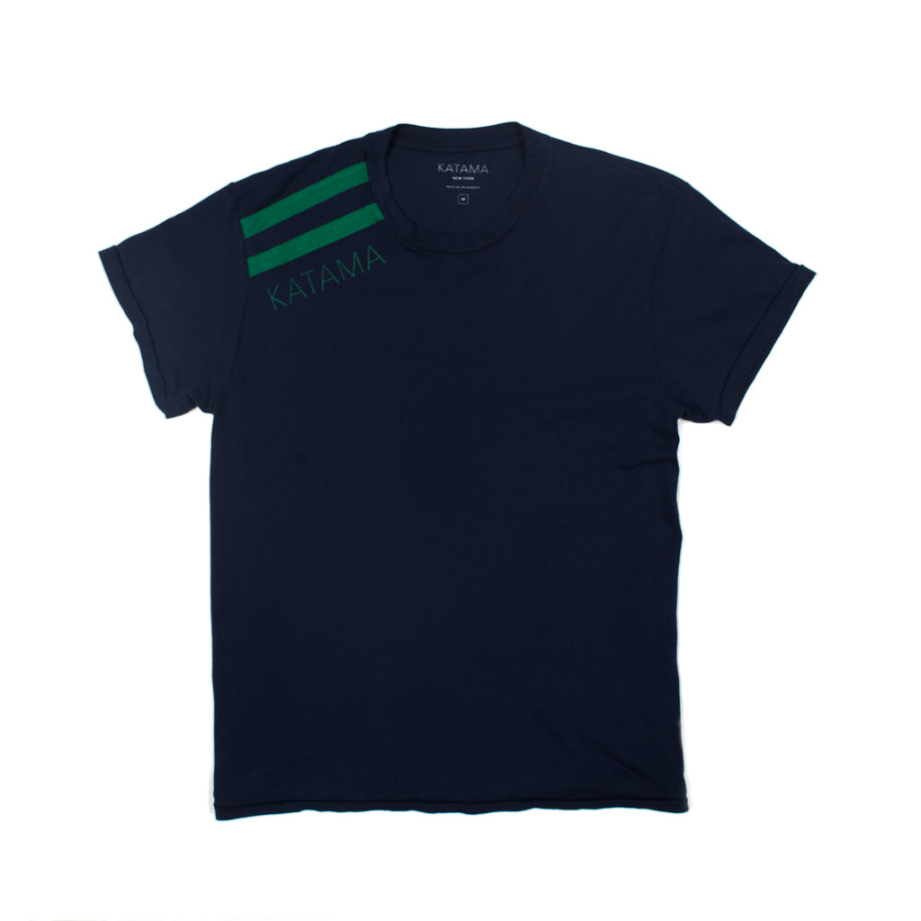 RANDY - True Navy with Green Stripes