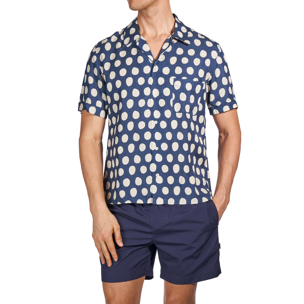 SCOUT SHIRT - NAVY & CREAM POLKA DOT PRINT