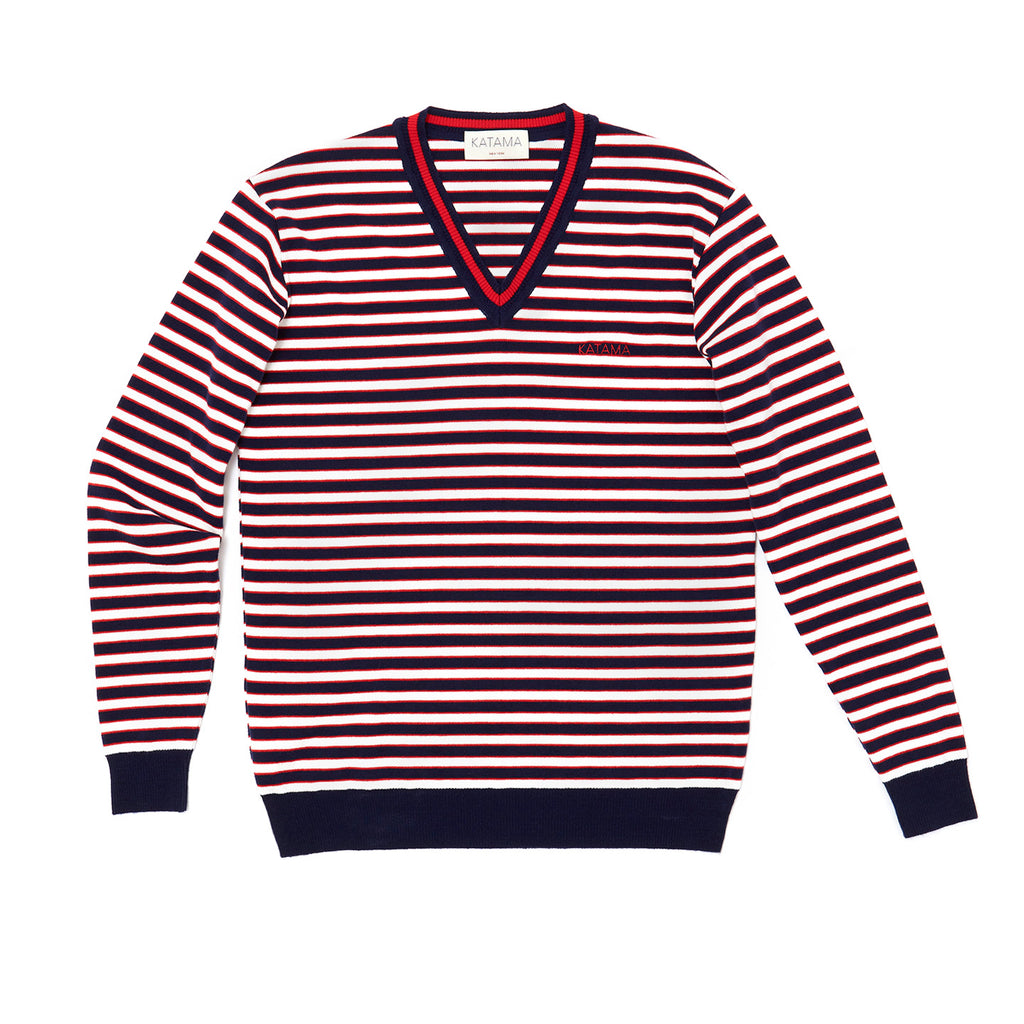 SUMMER SWEATER- Navy/Red/Cream