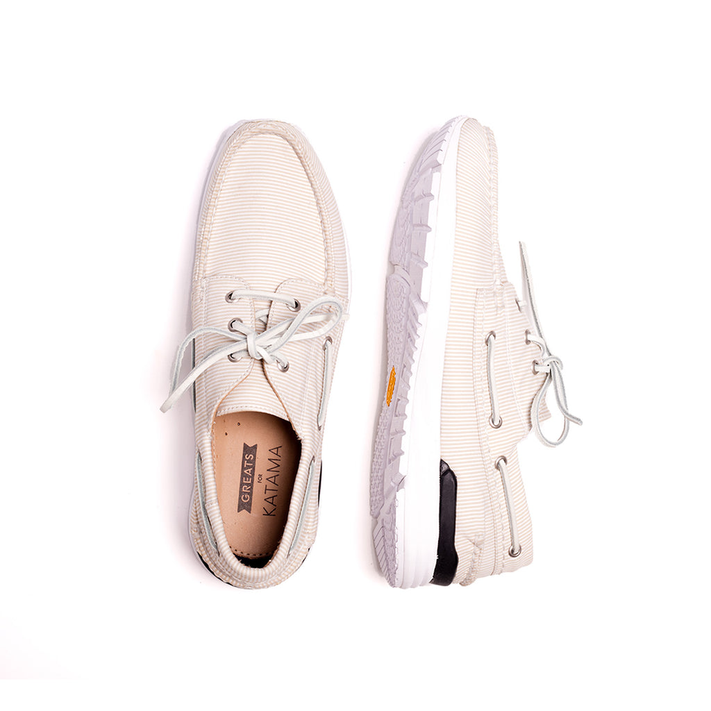 GREATS FOR KATAMA WINWARD BOAT SHOE- TAN/WHITE STRIPE