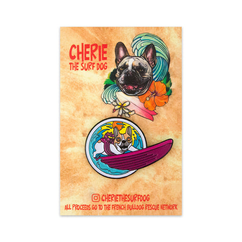 Cherie the Surf Dog Enamel Pin