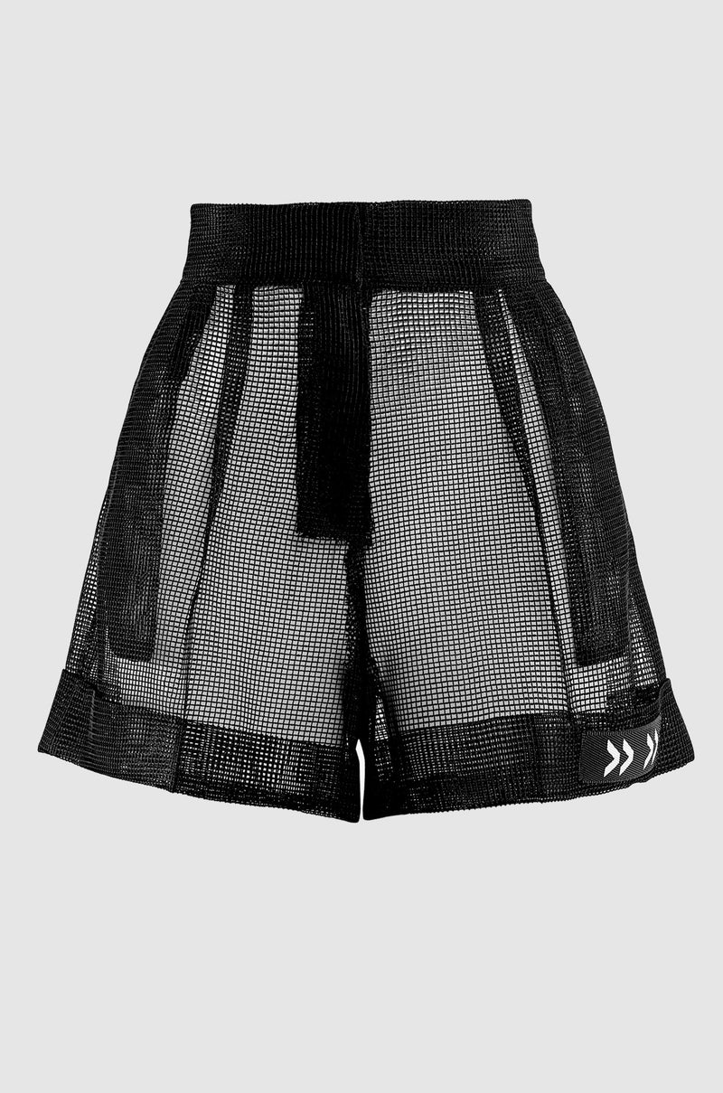 HIGH WAISTED MESH SHORTS