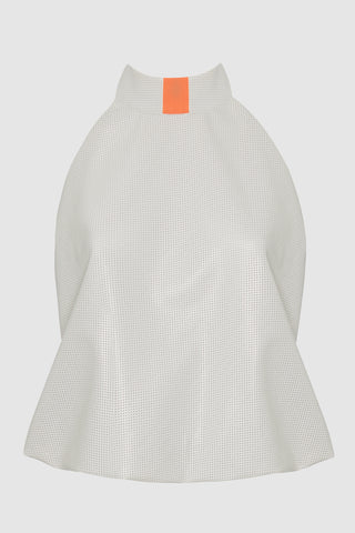 HIGH NECK RACER BACK PERFORATED VEGAN LEATHER TOP