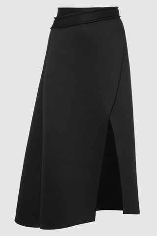 Neoprene Wrap Around Skirt in Black