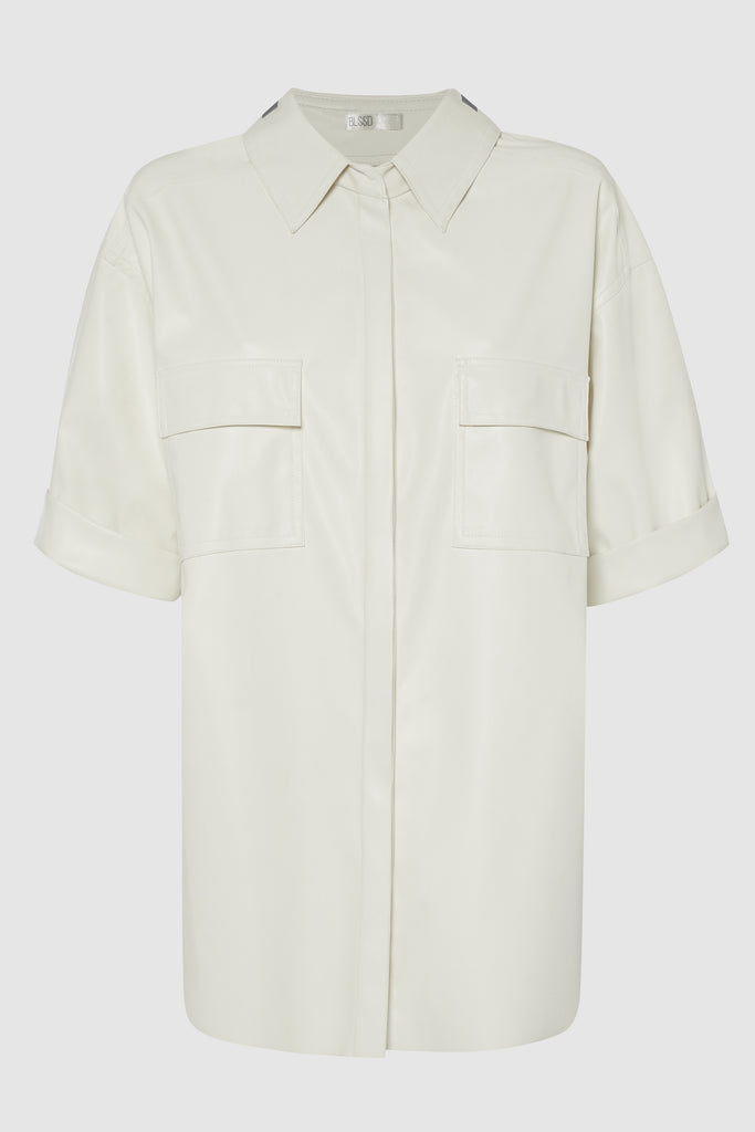 Berlin Short Sleeve Shirt W Carabiner  Off White Vegan Leather / Reflective