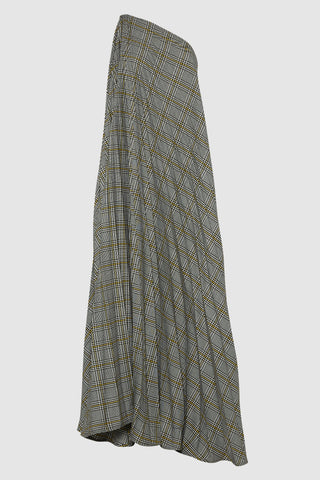 ONE SHOULDER PLAID MAXI PLEATED DRESS