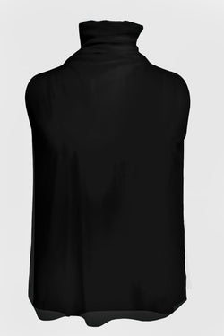 SHEER NET SLEEVELESS TURTLENECK TOP
