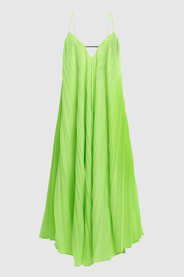 OPEN BACK PLEATED MIDI DRESS
