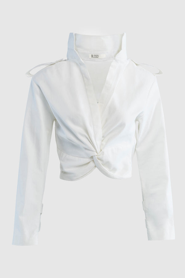 CROPPED TWILL SHIRT WITH FRONT TWIST