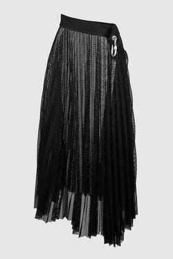 MESH SLANTED WAIST PLEATED SKIRT W/ CARABINER