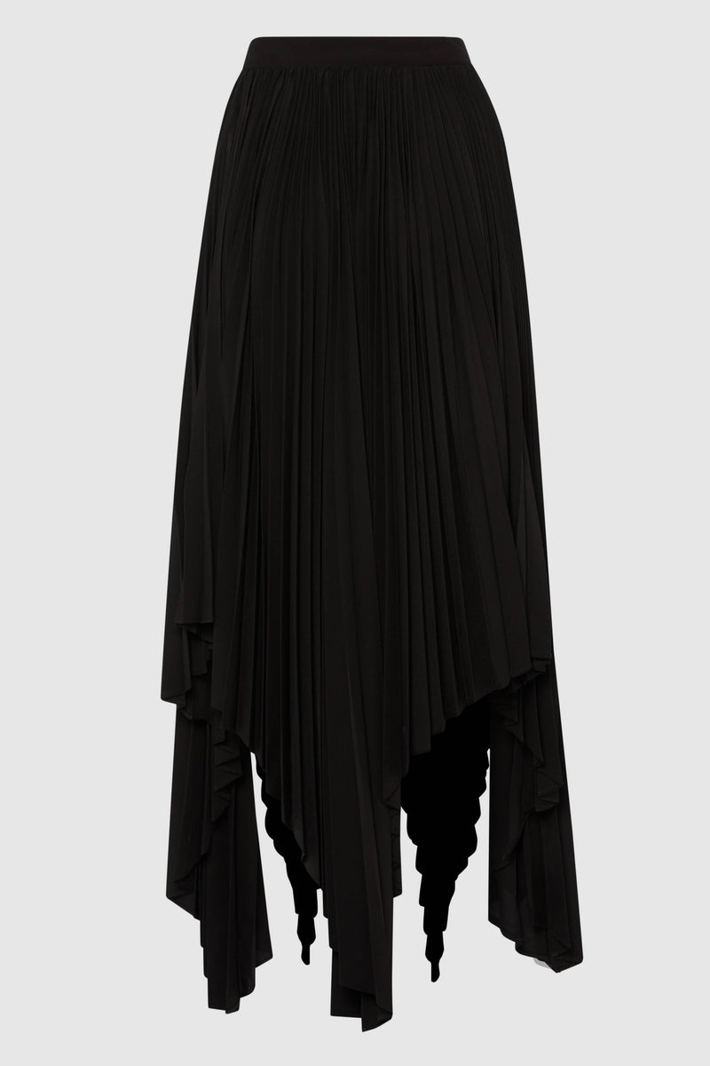 ASYMMETRIC PLEATED WRAP SKIRT