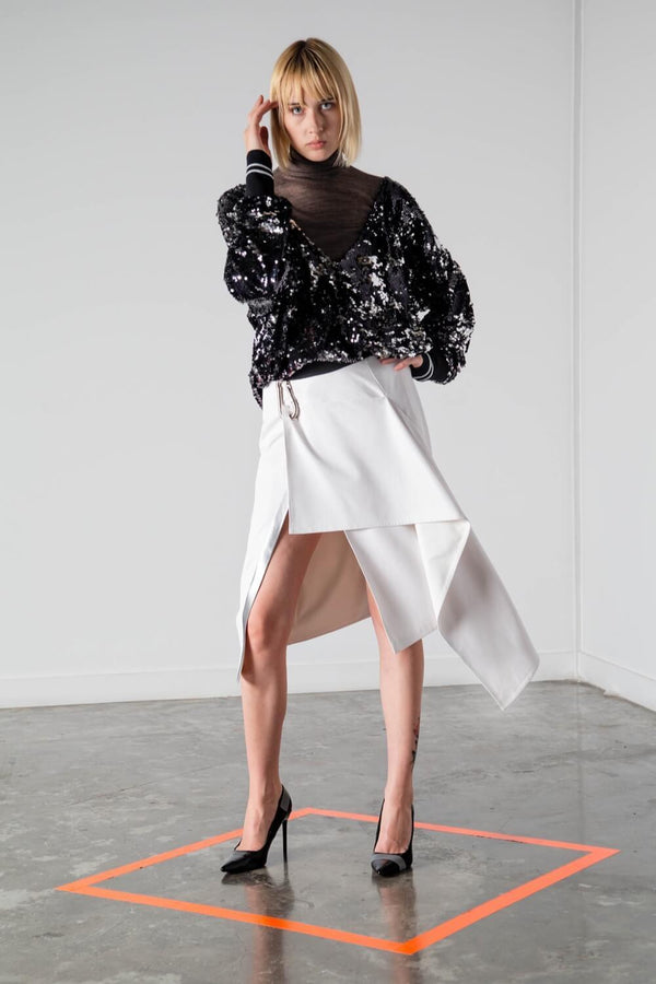 BERLIN PERFORATED VEGAN LEATHER SKIRT
