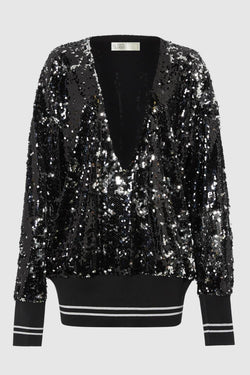 DEEP V SEQUIN SWEATER